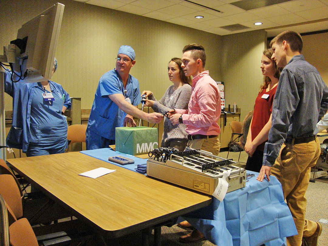 Student learn to maneuver endoscopy equipment and work as a team