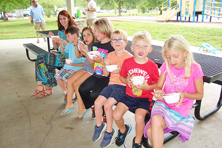Line of kids enjoying their Best Fest sundaes