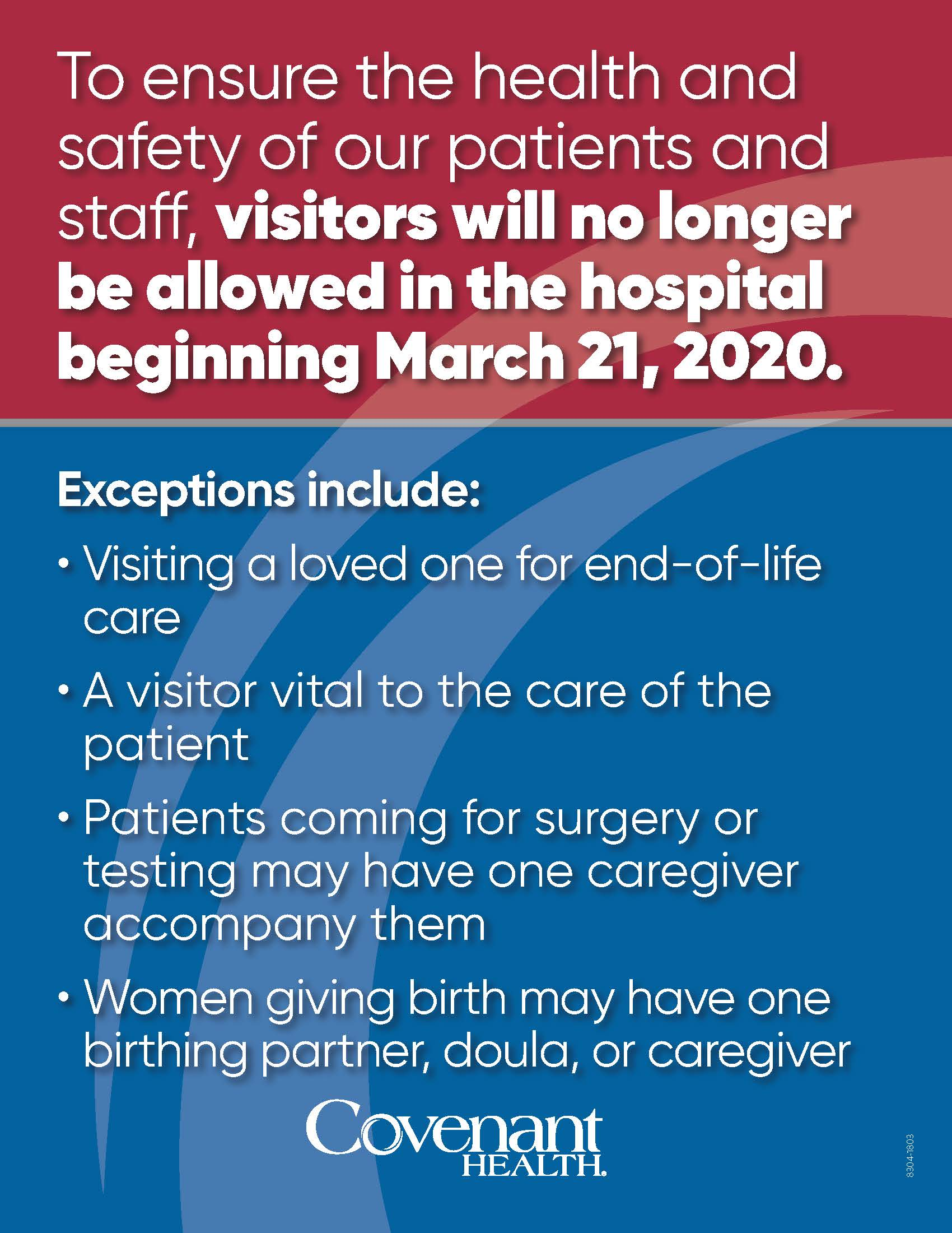 Updated visitor restrictions 3-21-20