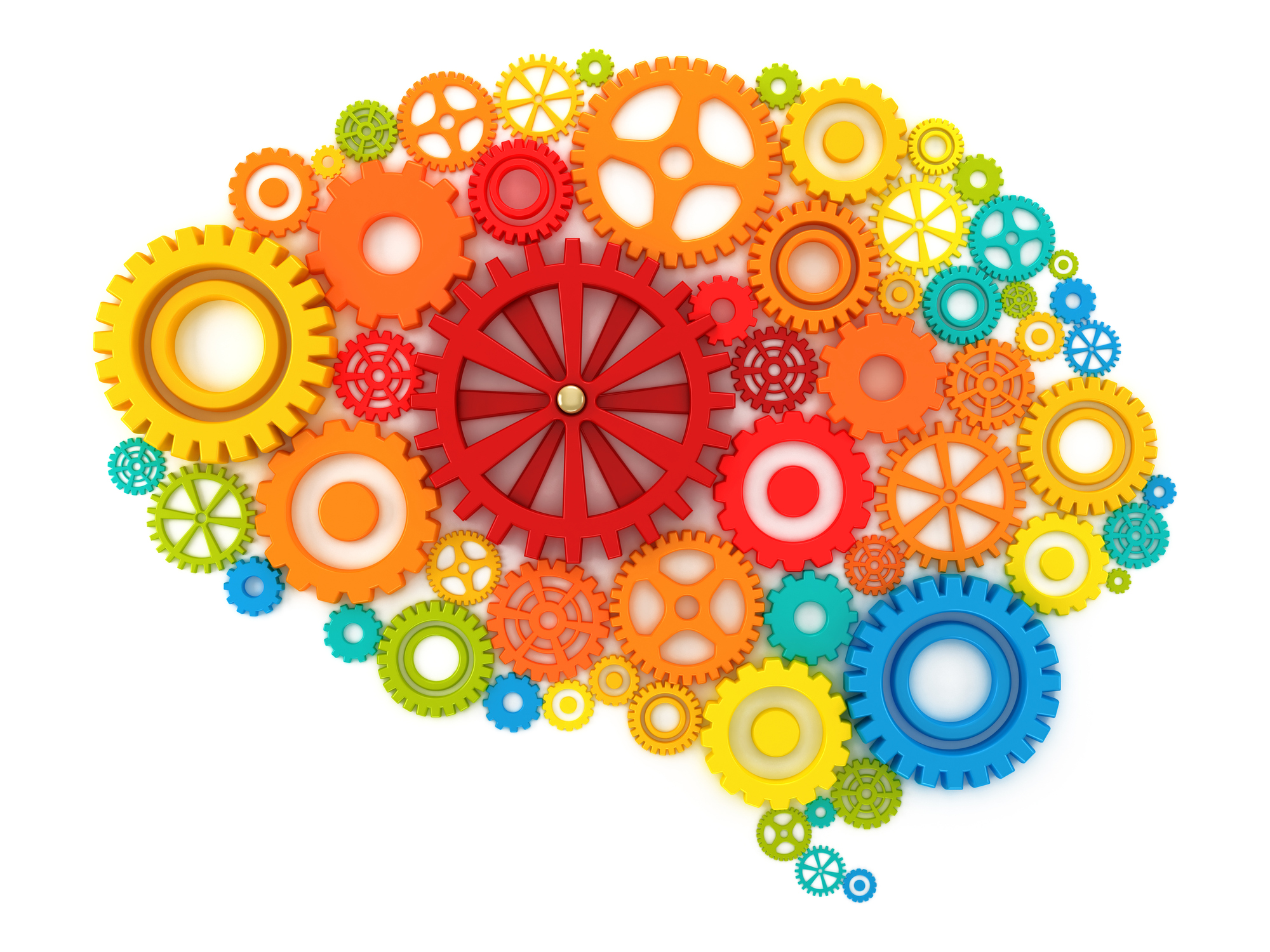 Colorful gears forming a human brain together with one red big central cog.